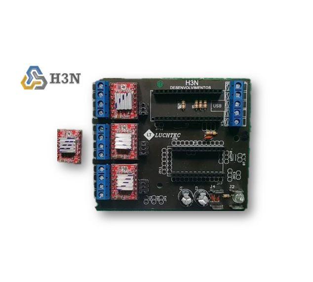 Placa De Controle H3N + 2 Arduinos + 4 Drivers