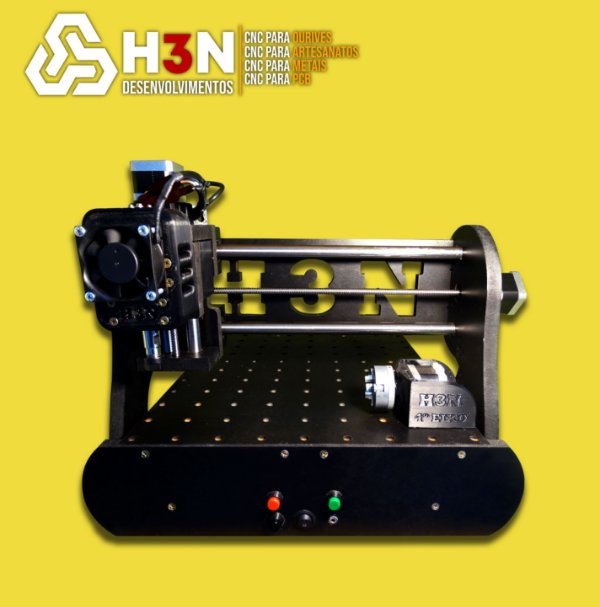 CNC H3N P/ Ourives - 30x30x5 C/ Spindle de 0,7 cv (12 Mil RPM) C/ Eixo Rotativo