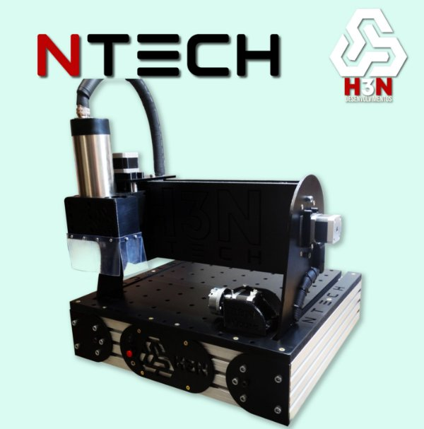 CNC H3N NTECH P/ Ourives - 30x30x5 C/ Spindle de 2 CV (24 Mil RPM) Refrigerada a água C/ Eixo Rotativo + Kit Fresas + Gravação Interna