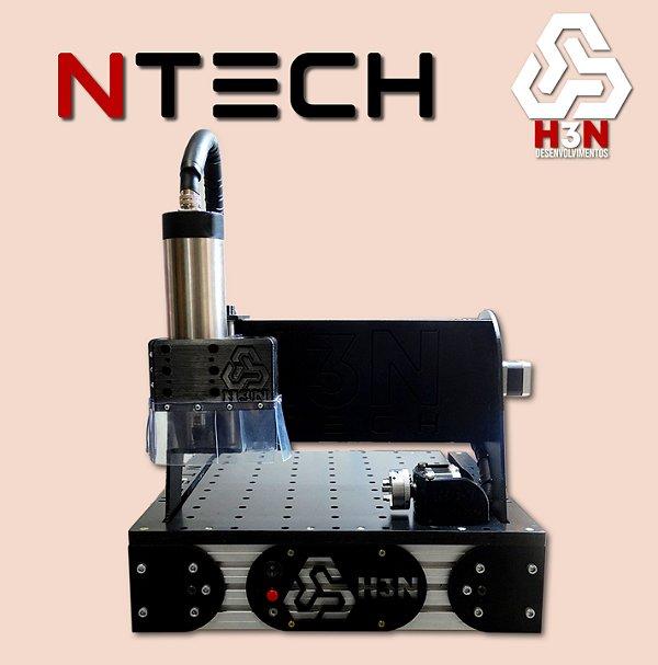CNC H3N NTECH P/ Ourives - 30x30x5 C/ Spindle de 1 Cv (24 Mil RPM) C/ Eixo Rotativo + Gravação Interna