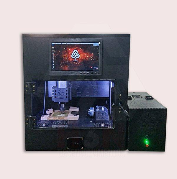 CNC H3N Ntech Pro Ourives Spindle Refrigerado a Água 3cv Cabinado 30x30x7cm - Com Gravação Interna + Kit Fresas + Computador Embutido