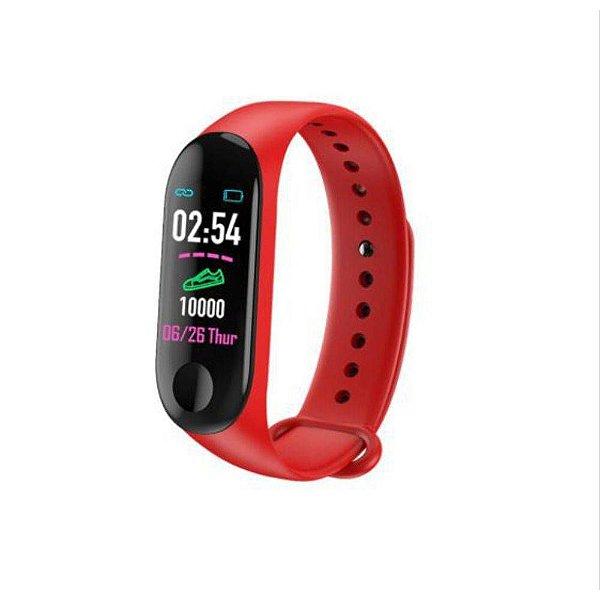 Pulseira Inteligente Smartband M3 Monitor Cardíaco Relógio Vermelha