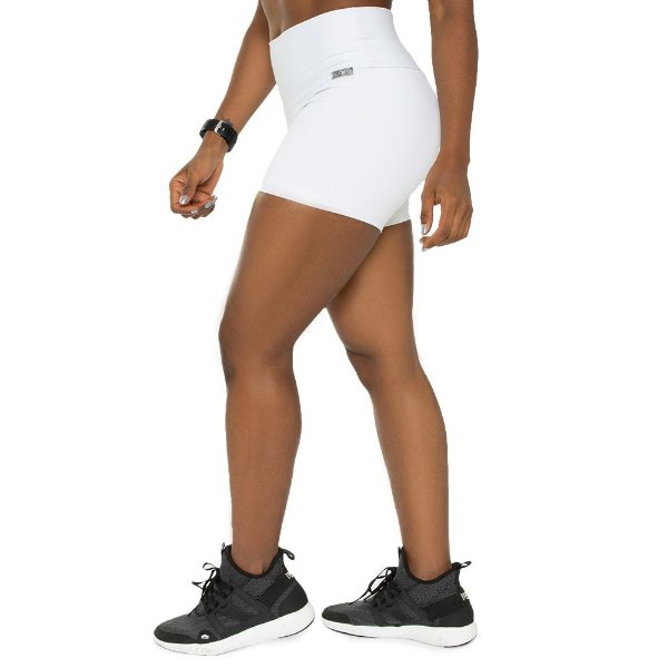 Short Training White / Short Branco / Sem Transparência / Não Marca / Cós Alto