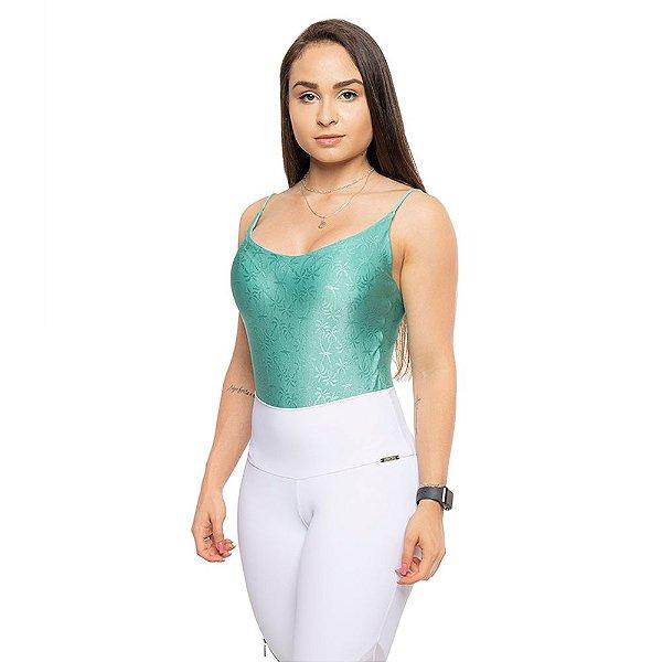 Body Dance / Body Verde com Tecido Trabalhado Coqueiro / Alças finas / Decote costas e bojo.