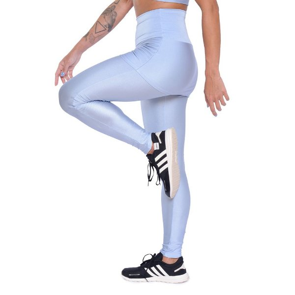 Legging Sainha Light Blue / Calça Cirrê Azul Claro / Cós Alto