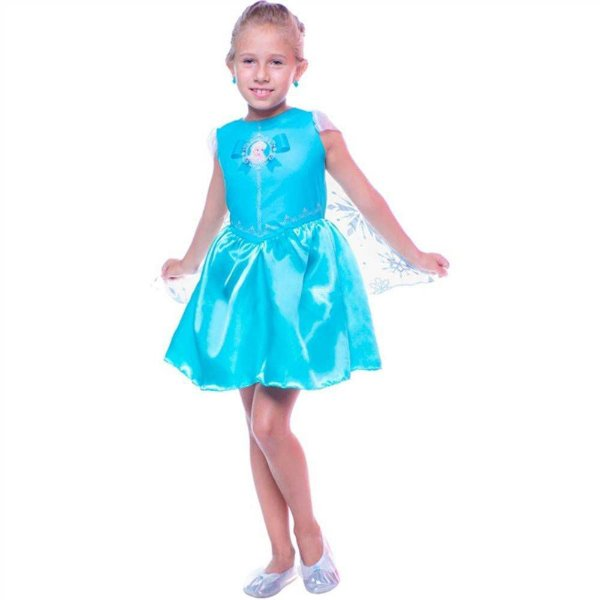 Fantasia Infantil Vestido Frozen Elsa Curto Com Capa