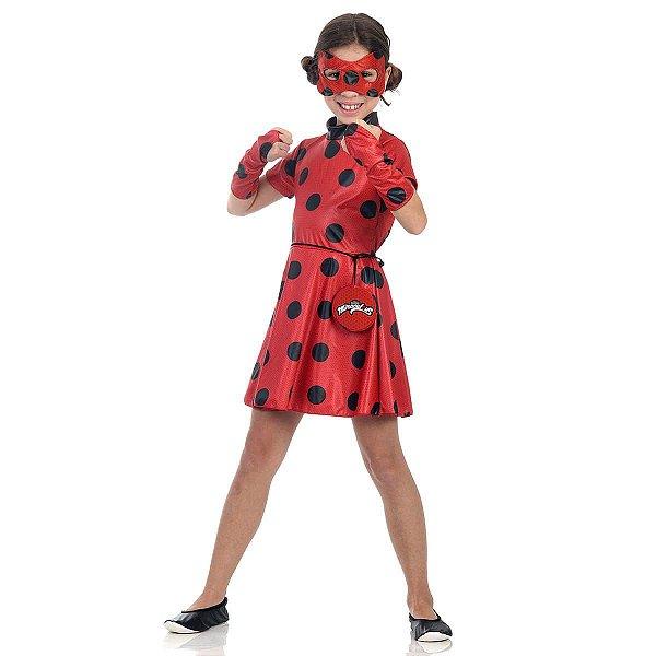 Fantasia Infantil Vestido Ladybug Tamanho 3 À 12 Anos
