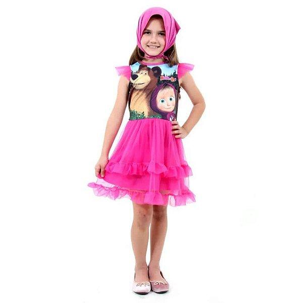 Fantasia Infantil Vestido Masha E Urso Com Lenço