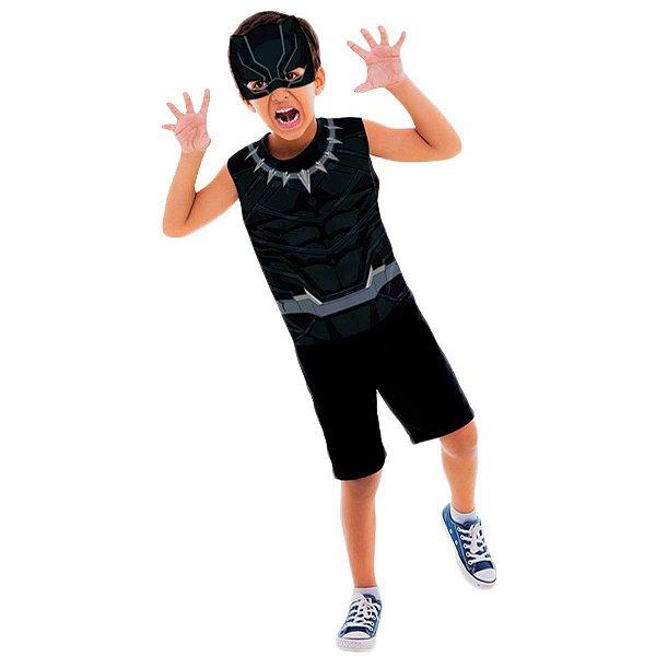 Fantasia Pantera Negra Infantil Curto Pop Com Máscara