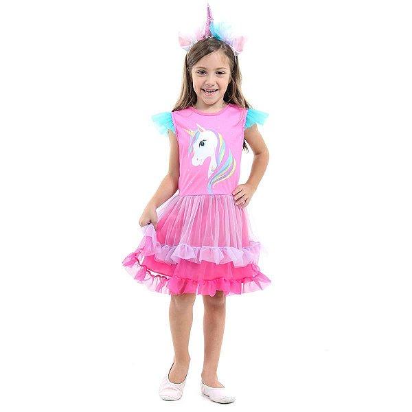 Fantasia Infantil Vestido Unicórnio Rosa Com Tiara