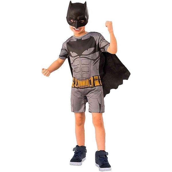 Fantasia Infantil Batman Macacão Curto Com Capa E Máscara