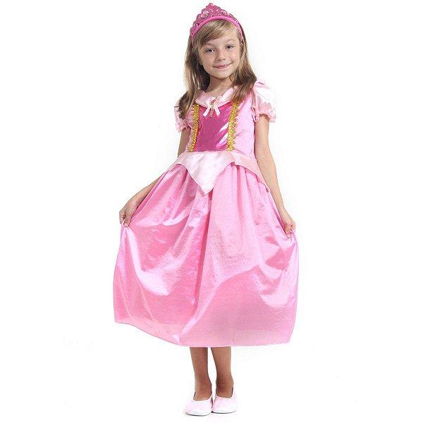 Fantasia Infantil Aurora Vestido Bela Adormecida Com Tiara