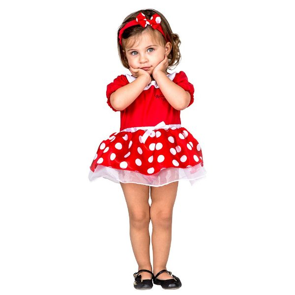 Fantasia Infantil Vestido Body Bebê Minnie Baby