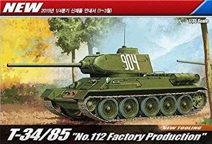 """T-34/85 """"112 FACTORY PRODUCTION"""" 1/35 Academy"""