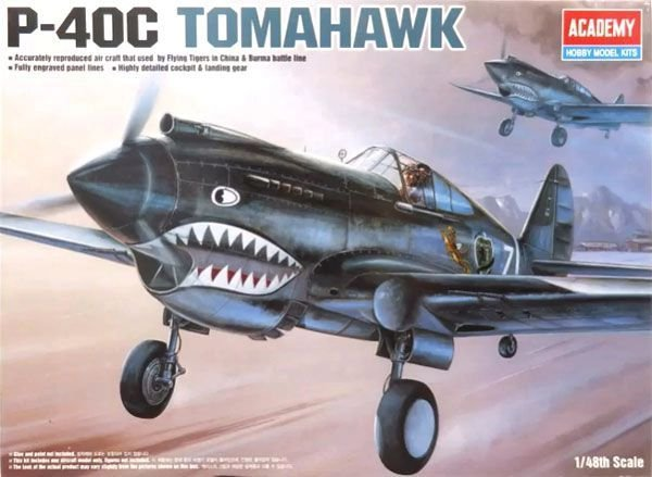 Caça Americano da Segunda Guerra Mundial P-40C Tomahawk 1/48 Academy