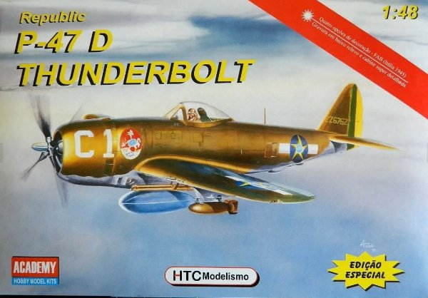 Caça Bombardeiro P-47D da Força Aérea Brasileira 1/48 Academy MONTADO