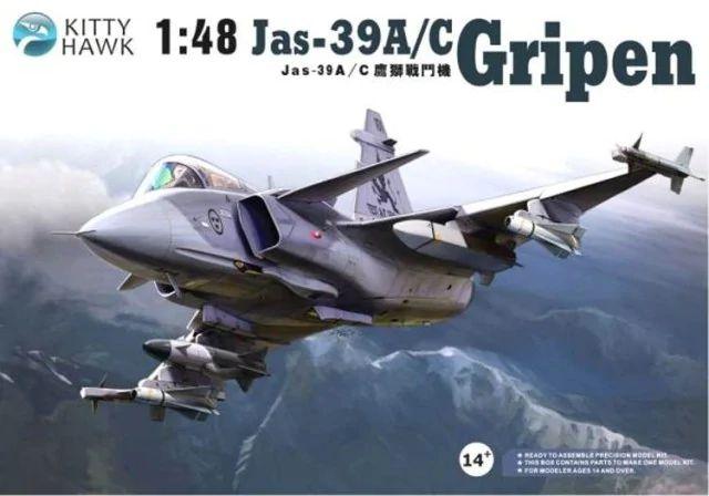 Caça Sueco JAS-39A/C Gripen 1/48 Kytty Hawk Montado