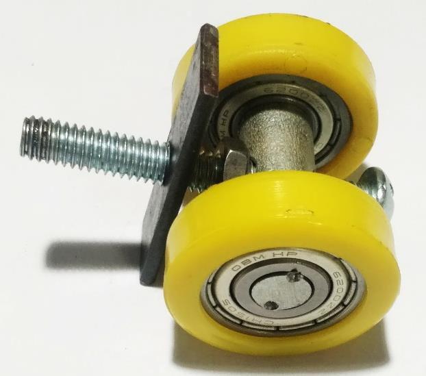 Rodízio Pantográfica Simples Com Rolamento Eixo 15 x 44 mm - Amarelo