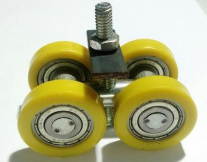 Rodízio Pantográfica Duplo Com Rolamento Eixo 15 x 44 mm - Amarelo