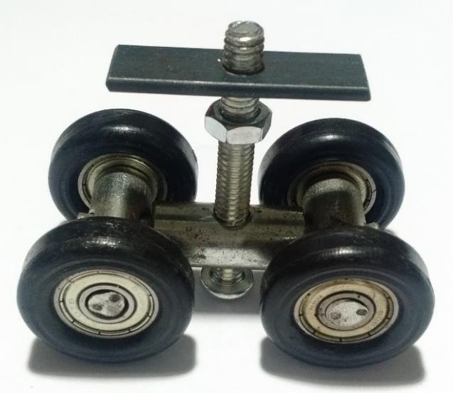 Rodízio Pantográfico Duplo Com Rolamento Eixo 15 x 44 mm - Preto