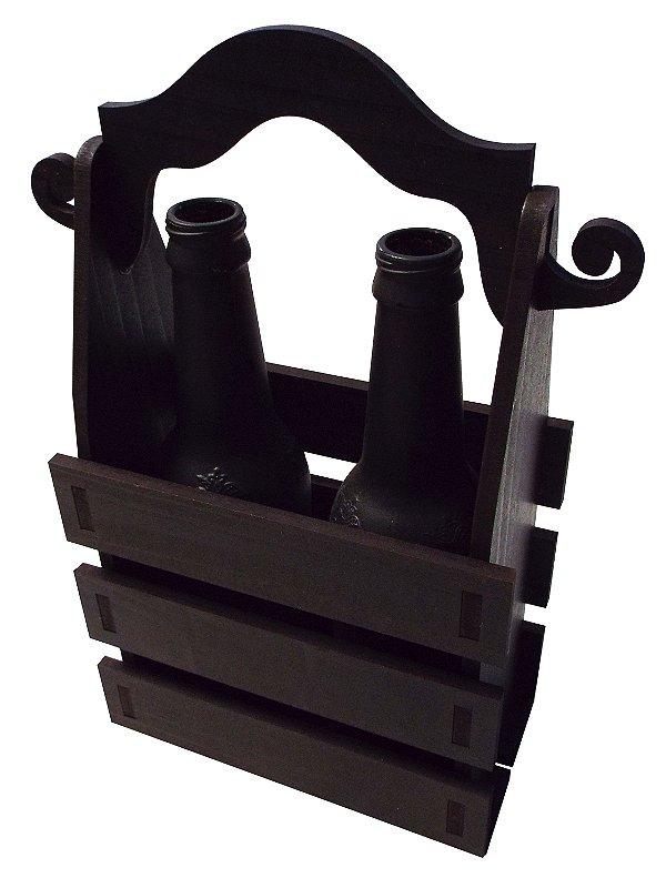 Caixote para Cerveja / Presente (2 Long Neck) - PRETO