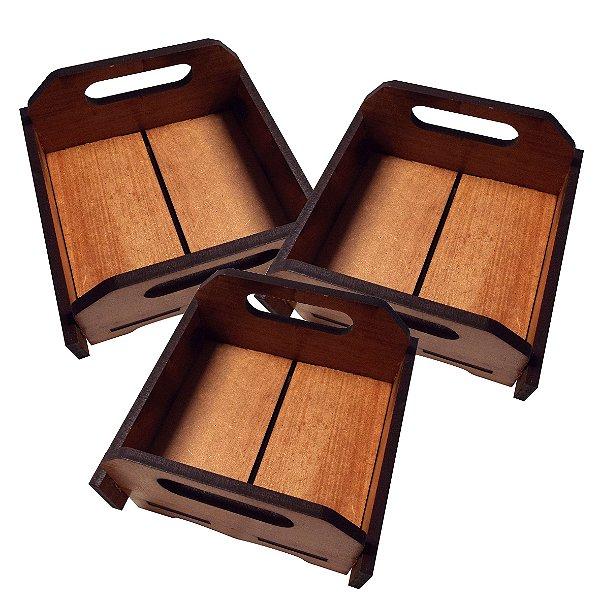 KIT 3 Bandeja Multiuso - 15 x 15 cm (Imbuia)