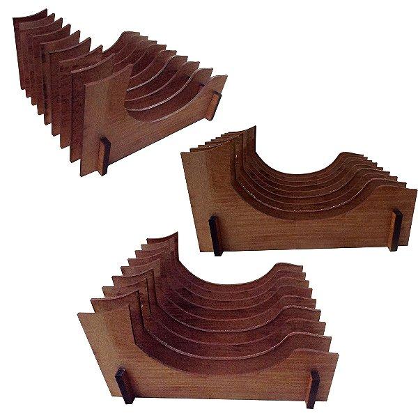 KIT 3 Organizador de Pires/Prato de sobremesa Vertical (8 Pratos)