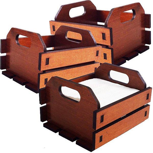 KIT 3 Porta Guardanapos Caixa de Frutas IMBUIA