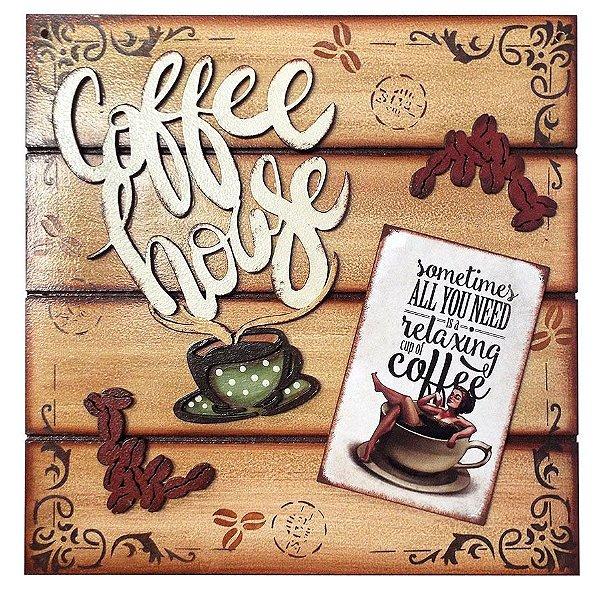 Placa Decorativa Coffee House (PINUP Relax) 30x30