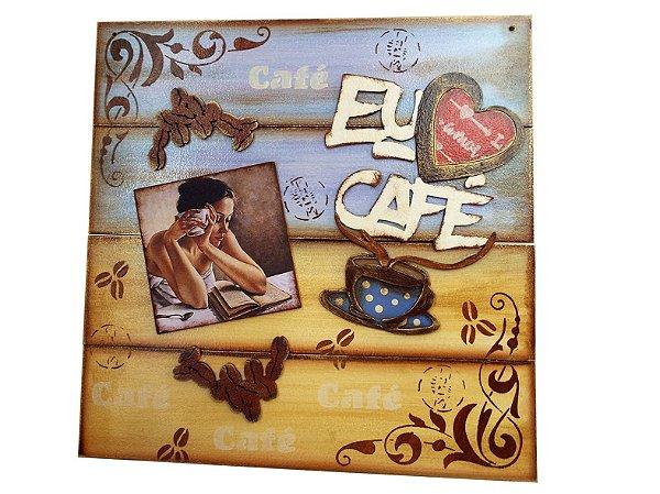 Placa Decorativa Eu Amo Café (PINUP) 30x30