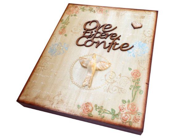 Placa Decorativa Ore Espere Confie (26x32)
