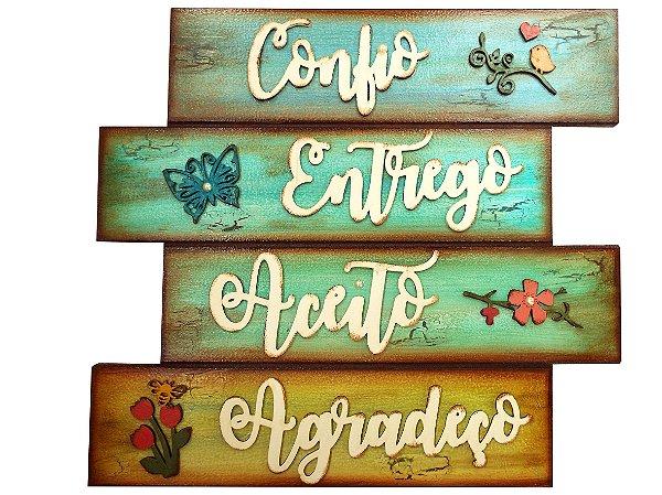 Placa Decorativa Confio Entrego Aceito Agradeço (30x34)