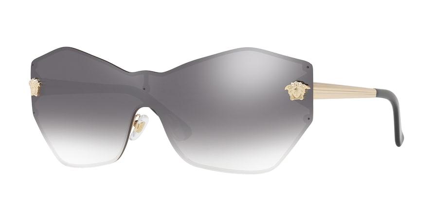 Versace VE2182 GLAM MEDUSA SHIELD Pale Gold Lentes Gradient Grey Mirror Silver