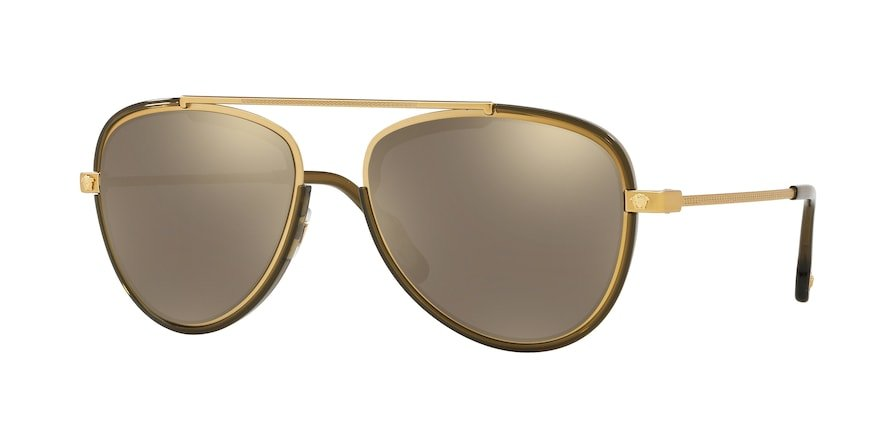 Versace VE2193  Tribute Gold/Transp Dark Green Lentes Light Brown Mirror Gold