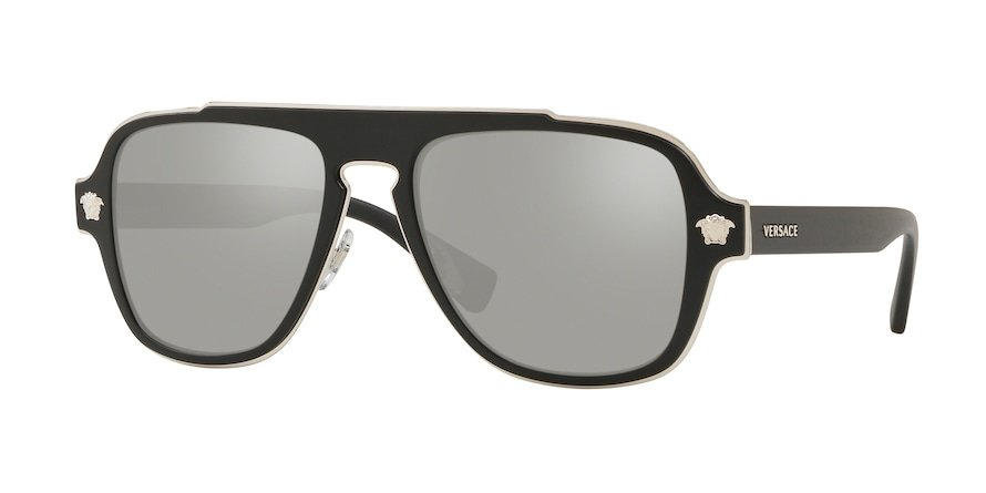 Versace VE2199 MEDUSA CHARM Matte Black Lentes Light Grey Mirror Silver