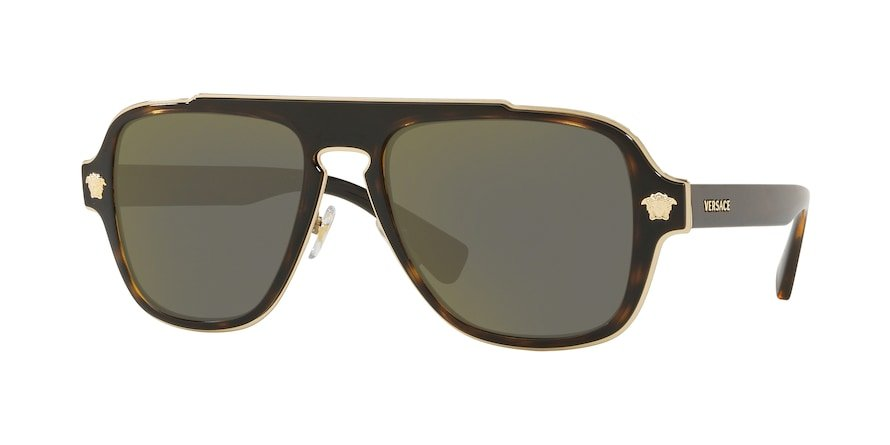 Versace VE2199 MEDUSA CHARM Dark Havana Lentes Dark Grey Mirror Gold