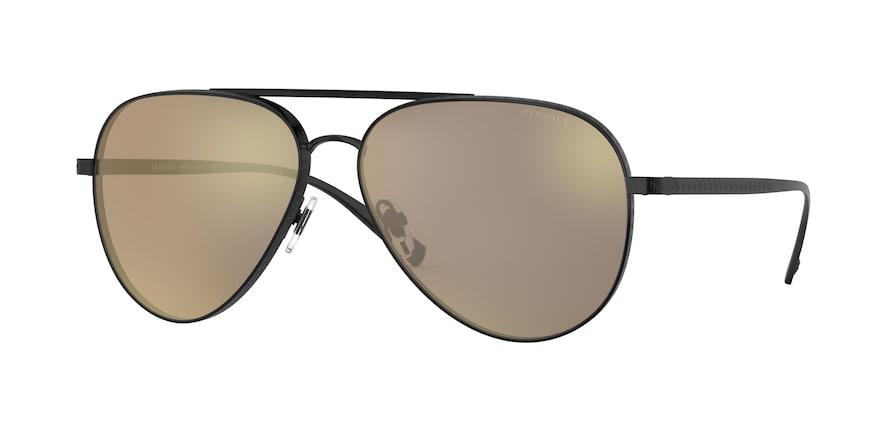 Versace VE2217  Matte Black Lentes Light Brown Mirror Dark Gold