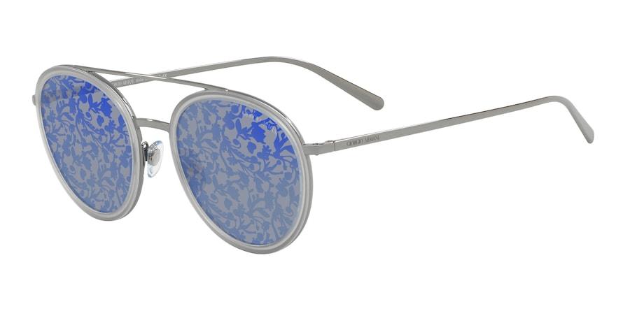 Giorgio Armani AR6051 Gunmetal/Transparent Grey Lentes Blue Tampo Flower Silver /Blue