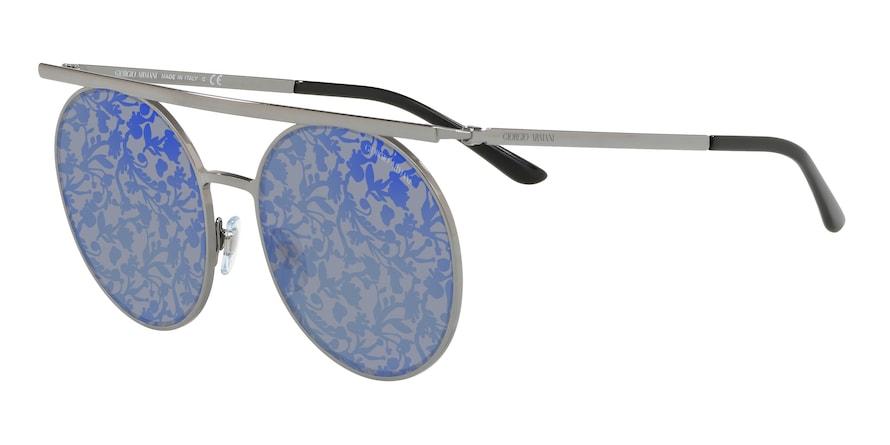 Giorgio Armani AR6069 Gunmetal Lentes Blue Tampo Flower Silver /Blue