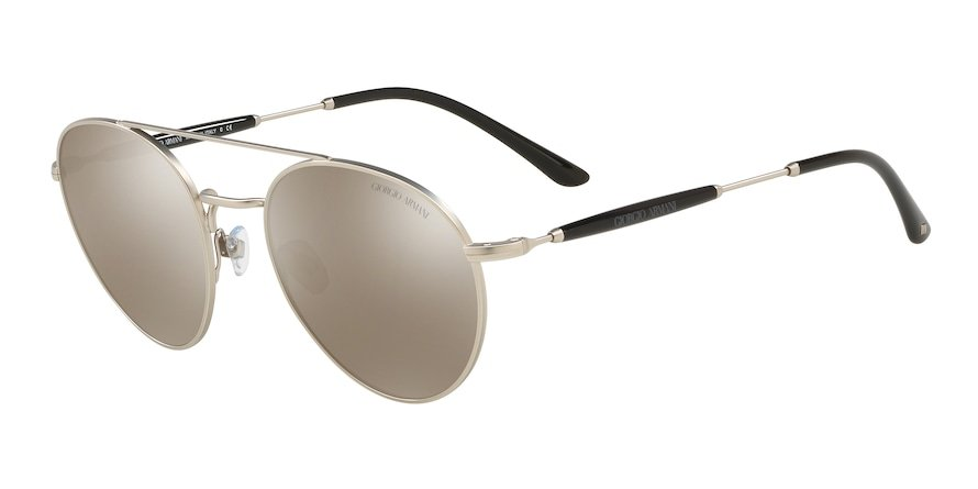 Giorgio Armani AR6075 Matte Silver Lentes Light Brown Mirror Dark Gold
