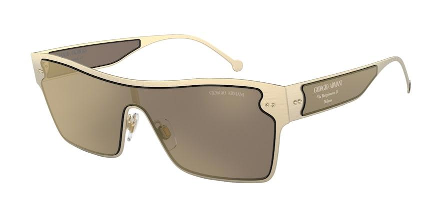 Giorgio Armani AR6088 Brushed Pale Gold Lentes Light Brown Mirror Gold