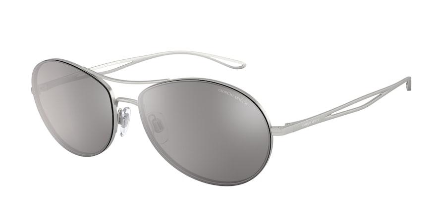 Giorgio Armani AR6099 Matte Silver Lentes Light Grey Mirror Silver