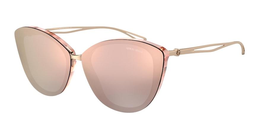 Giorgio Armani AR8123 Striped Pink Lentes Grey Mirror Rose Gold
