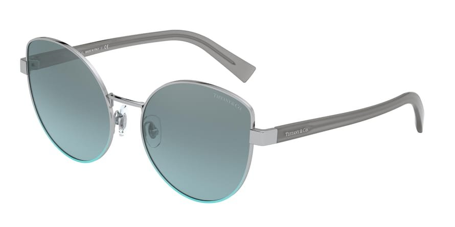 Tiffany TF3068 Silver Gradient Blue Lentes Light Azure Mirror Silver Grad