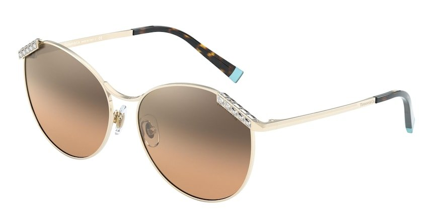 Tiffany TF3073B Pale Gold Lentes Brown Gradient Silver Mirror