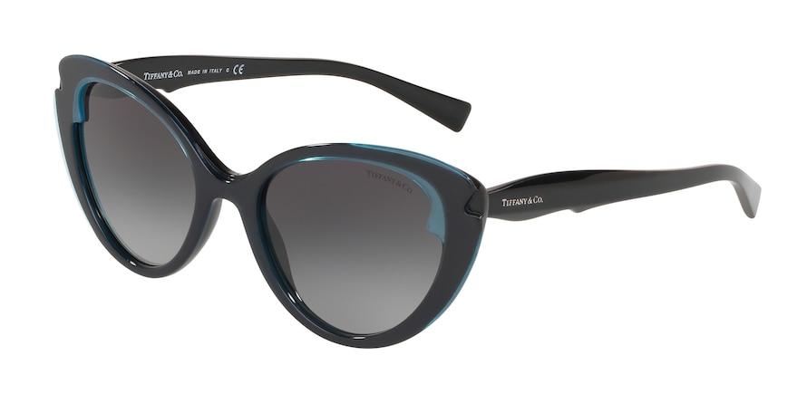 Tiffany TF4163 Crystal Blue On Black Lentes Light Grey Gradient Black