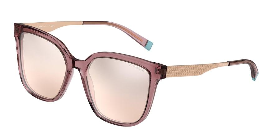 Tiffany TF4165 Pink Brown Transparent Lentes Brown Mirror Grad Silver