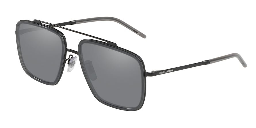 Dolce & Gabbana DG2220 Matte Black/Transparent Grey Lentes Light Grey Mirror Black