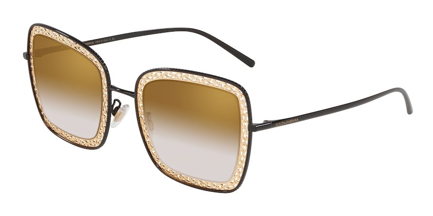 Dolce & Gabbana DG2225 Black Lentes Grad Light Brown Mirror Gold