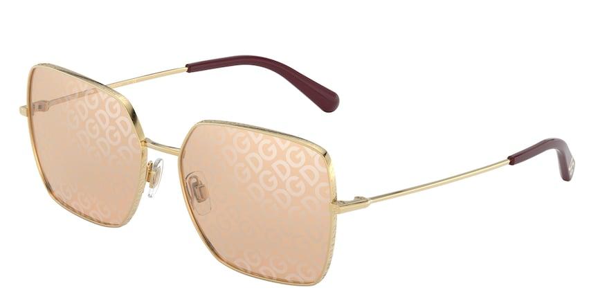 Dolce & Gabbana DG2242 Gold Lentes Light Brown Tampo D&G Silver